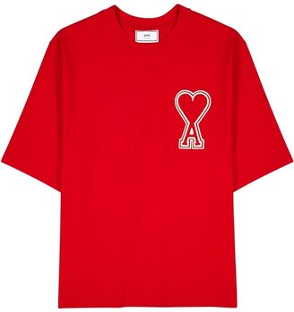 Ami Red Logo-appliqued Cotton T-shirt