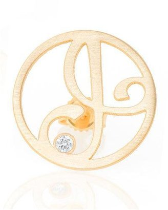 20f71f7602a52a K Kane Right Singular Mini One-Initial Diamond Stud Earring, Yellow Gold