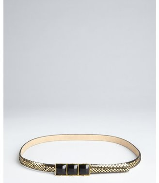 Vince Camuto gold snake embossed leather jewel buckle skinny belt