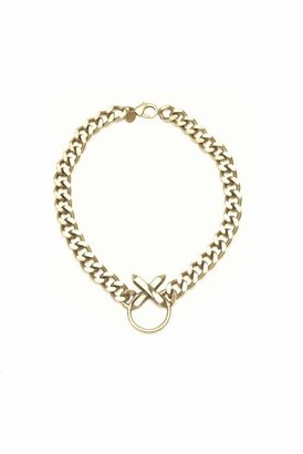 Luv Aj Crystal Cross Necklace in Brass Ox