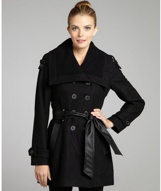 Miss Sixty black wool-blend knit trim belted double-breasted trench