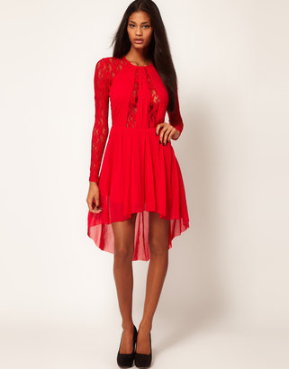 Asos Lace Insert Skater Dress With High Low Hem