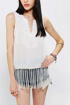 Urban Outfitters Staring At Stars Sleeveless Fringe Tunic