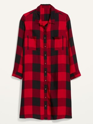 Old Navy Plaid Lightweight Flannel Plus-Size No-Peek Shirt Dress