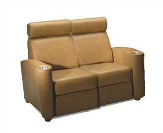 Bass Diplomat Leather Home Theater Loveseat Upholstery Color: Nusuede - Beige, Type: Not Motorized