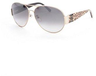 Givenchy gold metal cheetah printed aviator sunglasses