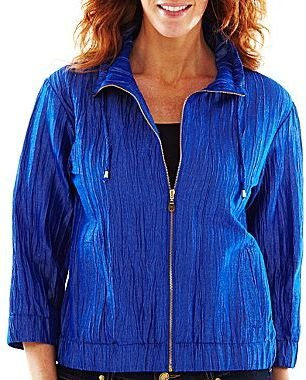 JCPenney Lark Lane® Metallic Crinkle Zip-Front Jacket
