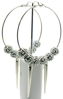 Shamballa Silver Lady Gaga Paparazzi Basketball Wives Earring with Balls and 2 Spikes