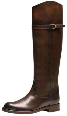 Gucci Eleonora Leather Riding Boot, Dark Brown