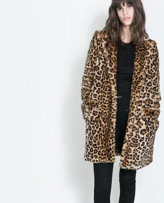 Zara Leopard Furry Coat