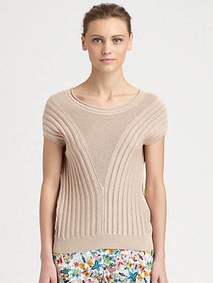 Cacharel Rib-Knit Cap-Sleeve Sweater