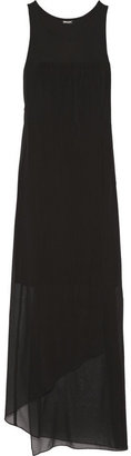 DKNY Wrap-effect stretch-georgette maxi dress