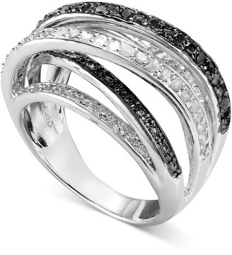 Townsend Victoria Black and White Diamond Orbital Ring in Sterling Silver (1/2 ct. t.w.)