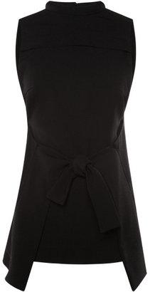 Proenza Schouler Black Viscose Crepe Sleeveless Tie Front Top