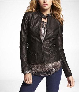 Express (minus The) Leather Peplum Seamed Moto Jacket