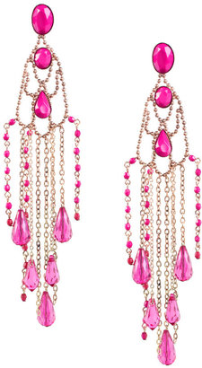 Asos Metal Coloured Bead And Metal Statement Fringe Drop Earrings (+)