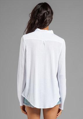C&C California Woven/Knit Mix Roll Sleeve Shirt