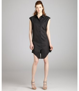 Balenciaga black cotton sleeveless leather belt back shirtdress