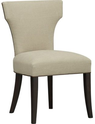 Crate & Barrel Sasha Side Chair with Leather Welt in Tumble: Drift