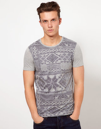 Asos T-Shirt With Oversized Fairisle Print