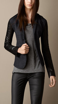 Burberry Leather Detail Tailored Jacket