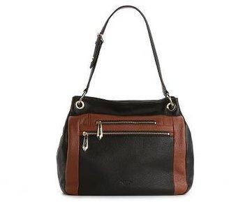 Perlina Belinda Leather Color Block Bucket Shoulder Bag