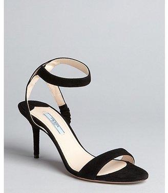 Prada black suede ankle strap sandals