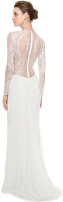 Monique Lhuillier Halle Long Sleeve Sheath Gown