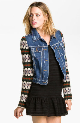 Free People 'Cypress' Sweater Sleeve Denim Jacket