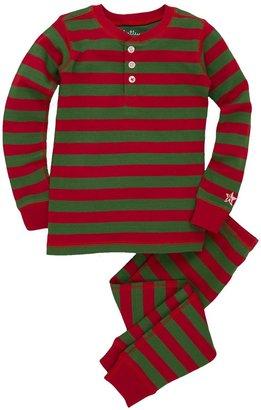 Hatley Print Pajama Set - Holiday Stripe-2T