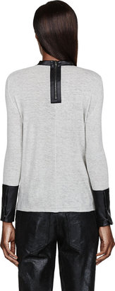 Helmut Lang Heather Grey Leather & Angora Top