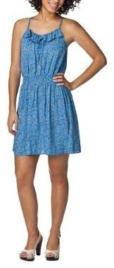 Mossimo Juniors Racerback Smocked Waist Challis Dress - Blue/Orange Print
