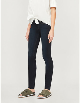 Paige Ladies Blue Leather Denim Mona Leggy Ultra-Skinny Mid-Rise Jeans, Size: 23