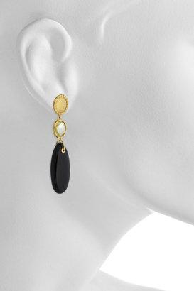 Monica Vinader Mini Luna 18-karat gold-vermeil quartz and onyx earrings