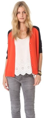 Halston Elbow Patch Cardigan
