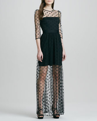 ALICE by Temperley Celia Sheer Dotted Mini-Lined Gown
