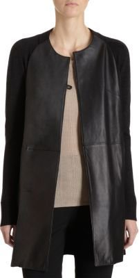 M.PATMOS Leather Front Mid Coat