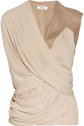 Helmut Lang Leather-trimmed draped voile top