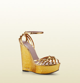 Gucci Alice Metallic Leather High-Heel Wedge Sandal