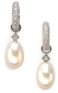 Jude Frances Classic White Pearl, Diamond & 18K White Gold Briolette Earring Charms