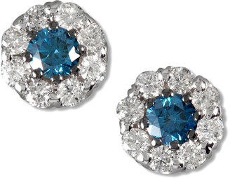 B.ella Bleu by EFFY Collection 14k White Gold Earrings, Blue and White Diamond Halo Stud Earrings (3/4 ct. t.w.)