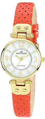AK Anne Klein Anne Klein Watch, Women's Orange Perforated Leather Strap 26mm 10-9888MPOR