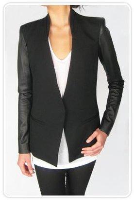 Helmut Lang Crux Wool Leather Sleeve Blazer