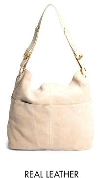 Asos Suede Slouch Shoulder Bag with Double Pocket - Stone