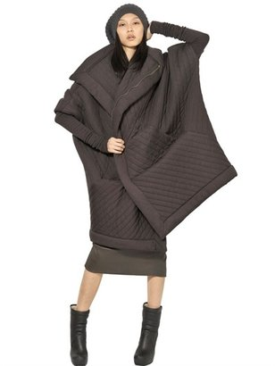 Rick Owens Quilted Padded Viscose Wool Jersey Coat