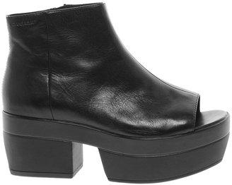 Vagabond Lindi Platform Black Peep Toe Ankle Boots - Black