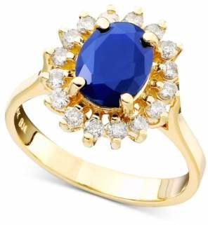 Effy Royalty Inspired by Sapphire (1-9/10 ct. t.w.) and Diamond (1/2 ct. t.w.) Oval Ring in 14k Gold, Created for Macy's