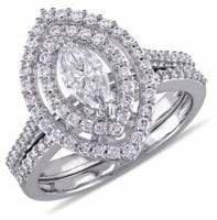 Concerto 1TCW Diamond Halo Bridal Set in 14k White Gold