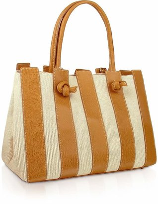 Fontanelli Canvas & Leather Italian Tote Handbag