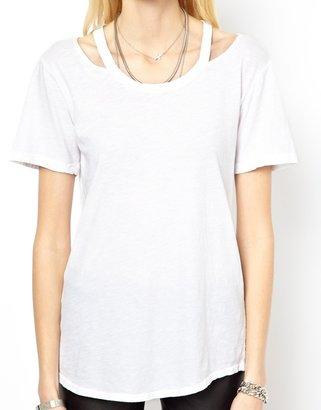 LnA Cold Shoulder T-Shirt With Cut Out Detail